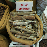 Whole cinnamon on display in a spice store in Hong Kong