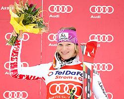 04.02.2011, Arber Zwiesel, GER, FIS World Cup Ski Alpin, Lady, Slalom, im Bild Siegerin Marlies Schild (AUT, #2) // Marlies Schild (AUT) mit Blumen // during FIS Ski Worldcup ladies Slalom at Arber Zwiesel, Germany on 04/02/2011. EXPA Pictures © 2011, PhotoCredit: EXPA/ R. Hackl