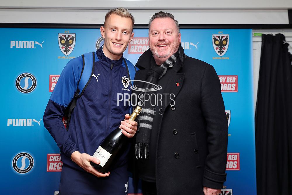 AFC Wimbledon striker Joe Pigott (39) receiving man of match award during the The FA Cup match between AFC Wimbledon and Doncaster Rovers at the Cherry Red Records Stadium, Kingston, England on 9 November 2019.