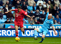 Photo: Ed Godden/Sportsbeat Images.<br />Coventry City v Cardiff City. Coca Cola Championship. 10/02/2007. Coventry's Robert Page (R), slides in on Michael Chopra.