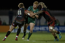 November 3, 2018 - Galway, Ireland - Darragh Leader of Connacht tackled by Will Talbot Davies and Richard Hibbard of Dragons during the Guinness PRO14 match between Connacht Rugby and Dragons at the Sportsground in Galway, Ireland on November 3, 2018  (Credit Image: © Andrew Surma/NurPhoto via ZUMA Press)