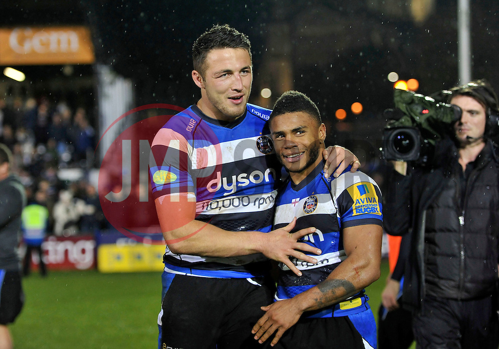 Sam Burgess and Kyle Eastmond are all smiles after the match - Photo mandatory by-line: Patrick Khachfe/JMP - Mobile: 07966 386802 28/11/2014 - SPORT - RUGBY UNION - Bath - The Recreation Ground - Bath Rugby v Harlequins - Aviva Premiership