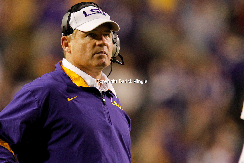November 12, 2011; Baton Rouge, LA, USA;  LSU Tigers head coach Les Miles against the Western Kentucky Hilltoppers during the second half of a game at Tiger Stadium.  Mandatory Credit: Derick E. Hingle-US PRESSWIRE