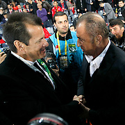 Turkey's coach Fatih Terim (R) and Brazil's coach Dunga (L) during their a international friendly soccer match Turkey betwen Brazil at Sukru Saracoglu Arena in istanbul November 12, 2014. Photo by Aykut AKICI/TURKPIX