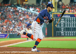 April 29, 2018 - Houston, TX, U.S. - HOUSTON, TX - APRIL 29:  Houston Astros right fielder George Springer (4) gets a walk in the bottom of the seventh inning during the baseball game between the Oakland Athletics and Houston Astros on April 29, 2018 at Minute Maid Park in Houston, Texas.  (Photo by Leslie Plaza Johnson/Icon Sportswire) (Credit Image: © Leslie Plaza Johnson/Icon SMI via ZUMA Press)