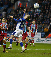 Photo: Steve Bond/Richard Lane Photography. Leicester City v Scunthorpe United. Coca Cola Championship. 13/02/2010. Paul Gallagher loops a back header over the keeper to score his hat trick