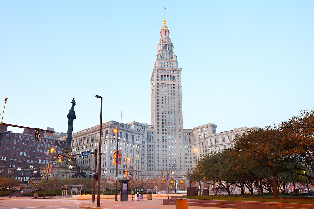 Terminal Tower on Public Square, downtown, Cleveland, Ohio, USA