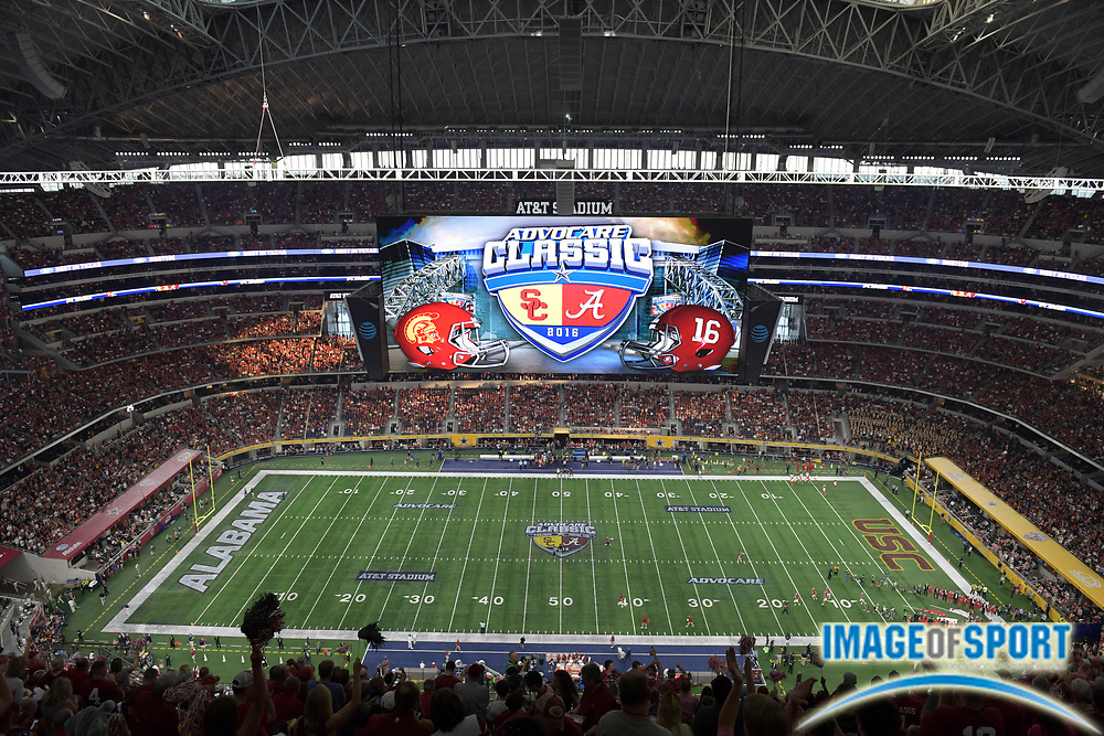 Sep 3, 2016; Arlington, TX, USA; General view of AT&T Stadium during a NCAA football game between the USC Trojans and the Alabama Crimson Tide. Alabama defeated USC 52-6.