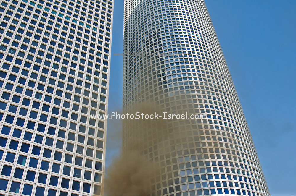 A mock up fire during a fire drill at a high rise building