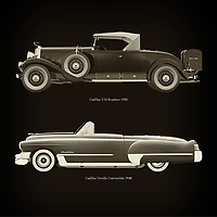 For the lover of old classic cars, this combination of a Cadillac V16 Roadster 1930 and Cadillac Deville Convertible 1948 is truly a beautiful work to have in your home.<br /> The classic Cadillac V16 Roadster and the beautiful ,,,, are among the most beautiful cars ever built.<br /> You can have this work printed in various materials and without loss of quality in all formats.<br /> For the oldtimer enthusiast, the series by the artist Jan Keteleer is a dream come true. The artist has made a fine selection of the very finest cars which he has meticulously painted down to the smallest detail. – –<br /> -<br /> <br /> BUY THIS PRINT AT<br /> <br /> FINE ART AMERICA<br /> ENGLISH<br /> https://janke.pixels.com/featured/cadillac-v16-roadster-1930-and-cadillac-deville-convertible-1948-jan-keteleer.html<br /> <br /> WADM / OH MY PRINTS<br /> DUTCH / FRENCH / GERMAN<br /> https://www.werkaandemuur.nl/nl/shopwerk/Cadillac-V16-Roadster-1930-en-Cadillac-Deville-Convertible-1948/757029/132?mediumId=1&size=60x60<br /> –