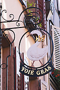 fine food shop foie gras sign wrought iron sign ribeauville alsace france