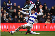 Jonathan Kodjia of Aston Villa scores his teams 1st goal.  EFL Skybet championship match, Queens Park Rangers v Aston Villa at Loftus Road Stadium in London on Sunday 18th December 2016.<br /> pic by Steffan Bowen, Andrew Orchard sports photography.