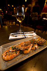 Gambas a la parilla (grilled shrimp) at La Marchas Tapas Bar, Wednesday, Jan. 13, 2016, in Berkeley, Calif. (Photo by D. Ross Cameron)