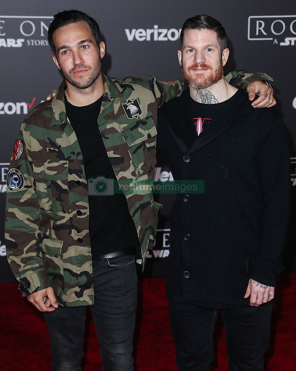 World Premiere Of Walt Disney Pictures And Lucasfilm's 'Rogue One: A Star Wars Story' at the Pantages Theatre on December 10, 2016 in Hollywood, California. 10 Dec 2016 Pictured: Pete Wentz, Andy Hurley. Photo credit: Image Press/MEGA TheMegaAgency.com +1 888 505 6342