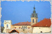 Digitally enhanced image of general view of Jaffa, Israel with the Turkish built Ottoman clock tower in the background