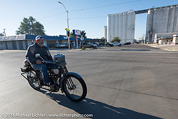 Bill Page of Kansas riding his single-cylinder 1915 Harley-Davidson class-2 motorcyle through Ingalls, Kansas during the Motorcycle Cannonball Race of the Century. Stage-9 Dodge City, KS to Pueblo, CO. USA. Monday September 19, 2016. Photography ©2016 Michael Lichter.