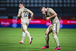 Nino Kouter of Mura reacts after clash with Jordan Teze of PSV Eindhoven during football match between NS Mura and PSV Eindhoven in Third Round of UEFA Europa League Qualifications, on September 24, 2020 in Stadium Fazanerija, Murska Sobota, Slovenia. Photo by Blaz Weindorfer / Sportida