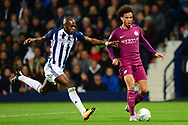 Leroy Sane of Manchester City ® battles with Allan Nyom of West Bromwich Albion .Carabao Cup 3rd round match, West Bromwich Albion v Manchester City at the Hawthorns stadium in West Bromwich, Midlands on Wednesday 20th September 2017. pic by Bradley Collyer, Andrew Orchard sports photography.