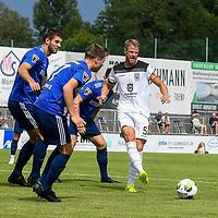 01.08.2020, C-Team Arena, Ravensburg, GER, WFV-Pokal, FV Ravensburg vs SSV Ulm 1846 Fussball, <br /> DFL REGULATIONS PROHIBIT ANY USE OF PHOTOGRAPHS AS IMAGE SEQUENCES AND/OR QUASI-VIDEO, <br /> im Bild Moritz Jeggle (Ravensburg, #5), Samuel Boneberger (Ravensburg, #17), Johannes Reichert (Ulm, #5)<br /> <br /> Foto © nordphoto / Hafner