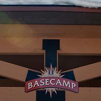 A sign designates the Basecamp center at Big Sky resort, Big Sky, Montana.