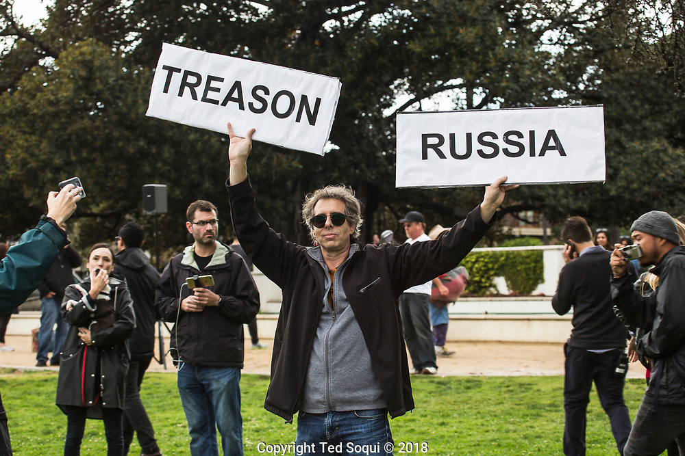 Anti-Trump demonstration held at Beverly Gardens Park in Beverly Hills. About 400 plus people showed up to demonstrate against Trump's visit to the Los Angeles area.