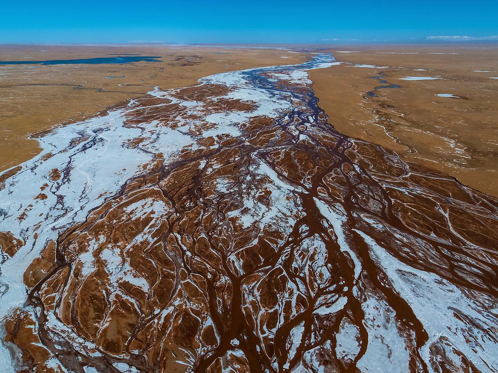 Abstract drone shot of the Lochsa River, Yangtze ,Tibetan Plateau, Yushu, Haixi, Qinghai, China