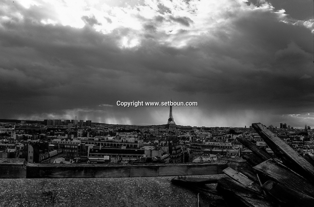 France. Paris. Elevated view on Paris cityscape and the Eiffel tower. the eiffel tower and paris cityscape view from Saint Sulpice church