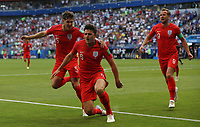 Football - 2018 FIFA World Cup WM Weltmeisterschaft Fussball - Quarter-Final: Sweden vs. England Harry Maguire of England celebrates after scoring the opening goal at the Cosmos Arena, Samara.