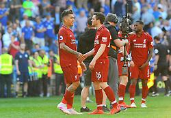 Andrew Robertson of Liverpool praises Roberto Firmino of Liverpool- Mandatory by-line: Nizaam Jones/JMP - 21/04/2019 -  FOOTBALL - Cardiff City Stadium - Cardiff, Wales -  Cardiff City v Liverpool - Premier League