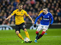 Football - 2019 / 2020 UEFA Europa League - Group G: Rangers vs. BSC Young Boys<br /> <br /> Ryan Kent of Rangers vies with Nicolas Burgy of Young Boys FC, at Ibrox Stadium.<br /> <br /> COLORSPORT/BRUCE WHITE