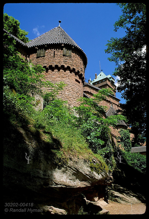 View of tower @ main entry to Haut Koenigsbourg castle in the Vosges Mountains of Alsace. France