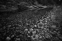 Merced River Meditation. Image taken with a Nikon D3 camera and 24-70 mm f/2.8 lens (ISO 200, 24 mm, f/16, 1.6 sec). Camera mounted on a tripod. Monochrome Version.