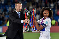Saki Kumagai of Olympique Lyon celebrates with the cup during the UEFA Women's Champions League Final between Lyon Women and Paris Saint Germain Women at the Cardiff City Stadium, Cardiff, Wales on 1 June 2017. Photo by Giuseppe Maffia.<br /> <br /> <br /> Giuseppe Maffia/UK Sports Pics Ltd/Alterphotos