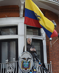 Julian Assange before speaking from the balcony of the Ecuadorian embassy in London after a seven-year investigation in Sweden against the WikiLeaks founder was suddenly dropped.