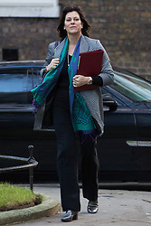London, UK. 8th January, 2019. Claire Perry MP, Minister for Energy and Clean Growth at the Department of Business, Energy and Industrial Strategy, arrives at 10 Downing Street for the first Cabinet meeting since the Christmas recess.