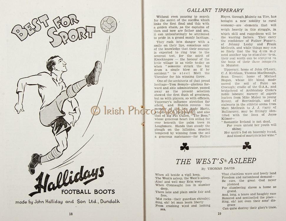 All Ireland Senior Hurling Championship Final,.Brochures,.02.09.1945, 09.02.1945, 2nd September 1945,.Tipperary 5-6, Kilkenny 3-6, .Minor Dublin v Tipperary, .Senior Tipperary v Kilkenny, .Croke Park, ..Advertisements, Hallidays Football Boots, ..Poems, The West's Asleep,