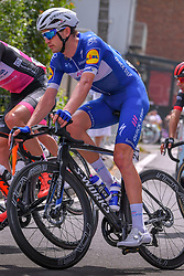 July 28, 2018 - Les Bons Villers, BELGIUM - Danish Kasper Asgreen of Team Quickstep Floors pictured during the first stage of the Tour De Wallonie cycling race, 193,4 km from La Louviere to Les Bons Villers, on Saturday 28 July 2018. BELGA PHOTO LUC CLAESSEN (Credit Image: © Luc Claessen/Belga via ZUMA Press)