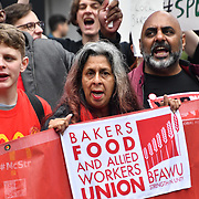 Hundreds workers united from American, Brazil Thailand and UK Rally for McDonald's, TGI Fridays & Wetherspoons Strikers. Protestors demand £10 an hour at Leicester Square, London, UK. 4th October 2018.