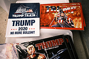 26 SEPTEMBER 2020 - DES MOINES, IOWA: Donald J. Trump merchandise for sale at Farm Boy Garage before a pro-Trump motorcade started there. More than 1,500 people in 500 vehicles participated in motorcade through Des Moines Saturday. They started in the suburbs south of downtown, drove through downtown, and ended at the State Capitol.       PHOTO BY JACK KURTZ