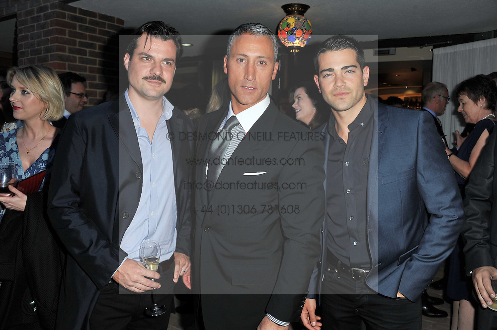 Left to right, actor JESSE METCALFE, hotel owner ANDREAS PANAYIOTOU and actor DAN PIRRIE at the opening party of the London Syon Park - A Waldorf Astoria Hotel, Syon Park, Middlesex on 19th May 2011.