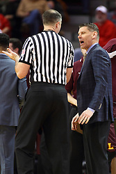 06 January 2016: Porter Moser questions Jeff Malham about a call at a time out during the Illinois State Redbirds v Loyola-Chicago Ramblers at Redbird Arena in Normal Illinois (Photo by Alan Look)