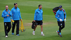 Somerset's Jack Leach, Bowling Coach Jason Kerr, Academy Coach Steve Snell and Captain Marcus Trescothick. Photo mandatory by-line: Harry Trump/JMP - Mobile: 07966 386802 - 10/05/15 - SPORT - CRICKET - Somerset v New Zealand - Day 3- The County Ground, Taunton, England.