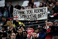 Fan hold up a Wayne Rooney of England sign during the International Friendly match between England and USA at Wembley Stadium, London, England on 15 November 2018.