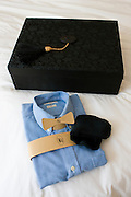 Shirt laundered and returned in luxury box at the Beijing Hotel, China