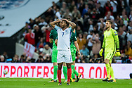 England (7) Raheem Sterling, Slovenia (1)Jan Oblak during the FIFA World Cup Qualifier match between England and Slovenia at Wembley Stadium, London, England on 5 October 2017. Photo by Sebastian Frej.