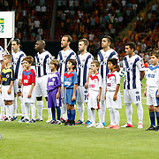 Kasimpasa's goalkeeper Andreas Isaksson (2ndL) with team mates during their Turkish Super League soccer match Galatasaray between Kasimpasa at the TT Arena at Seyrantepe in Istanbul Turkey on Monday 20 August 2012. Photo by TURKPIX