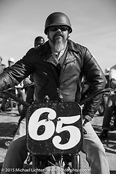 Bill Gallo on his 1946 Harley-Davidson WL Flathead at the Race of Gentlemen. Wildwood, NJ, USA. October 11, 2015.  Photography ©2015 Michael Lichter.