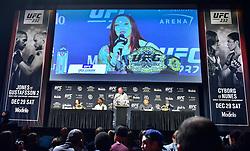 November 2, 2018 - New York, New York, U.S. - Cris Cyborg Justino vs Amanda Nunes during UFC 232 Press Conference at Madison Square Garden. (Credit Image: © Jason Silva via ZUMA Wire)