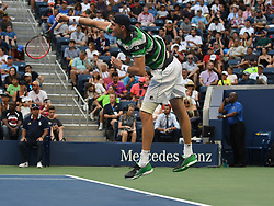 September 2, 2018 - Flushing Meadow, NY, U.S. - FLUSHING MEADOW, NY - SEPTEMBER 02:  John Isner (USA) in action during his 4th round match in the Men's Singles Championships at the US Open on September 02, 2018, at the Billie Jean King Tennis Center, Flushing Meadow, NY.(Photo by Cynthia Lum/Icon Sportswire) (Credit Image: © Cynthia Lum/Icon SMI via ZUMA Press)