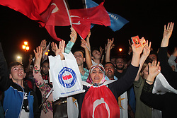 Supporters of Turkey's President and ruling Justice and Development Party, or AKP, leader Recep Tayyip Erdogan celebrate elections victory in Samsun, Sunday, June 24, 2018. Unofficial results from Turkey's presidential election show incumbent Recep Tayyip Erdogan with a commanding lead. Photo by Tolga Burgucu/DHA/Depo Photos/ABACAPRESS.COM